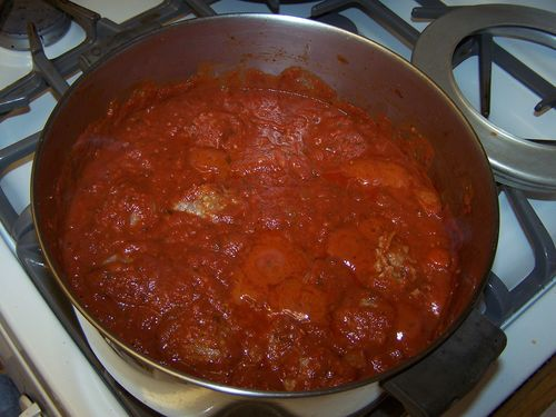 Meatballs in the sauce ready to simmer